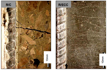 Image of two types of reinforced concrete showing cracks