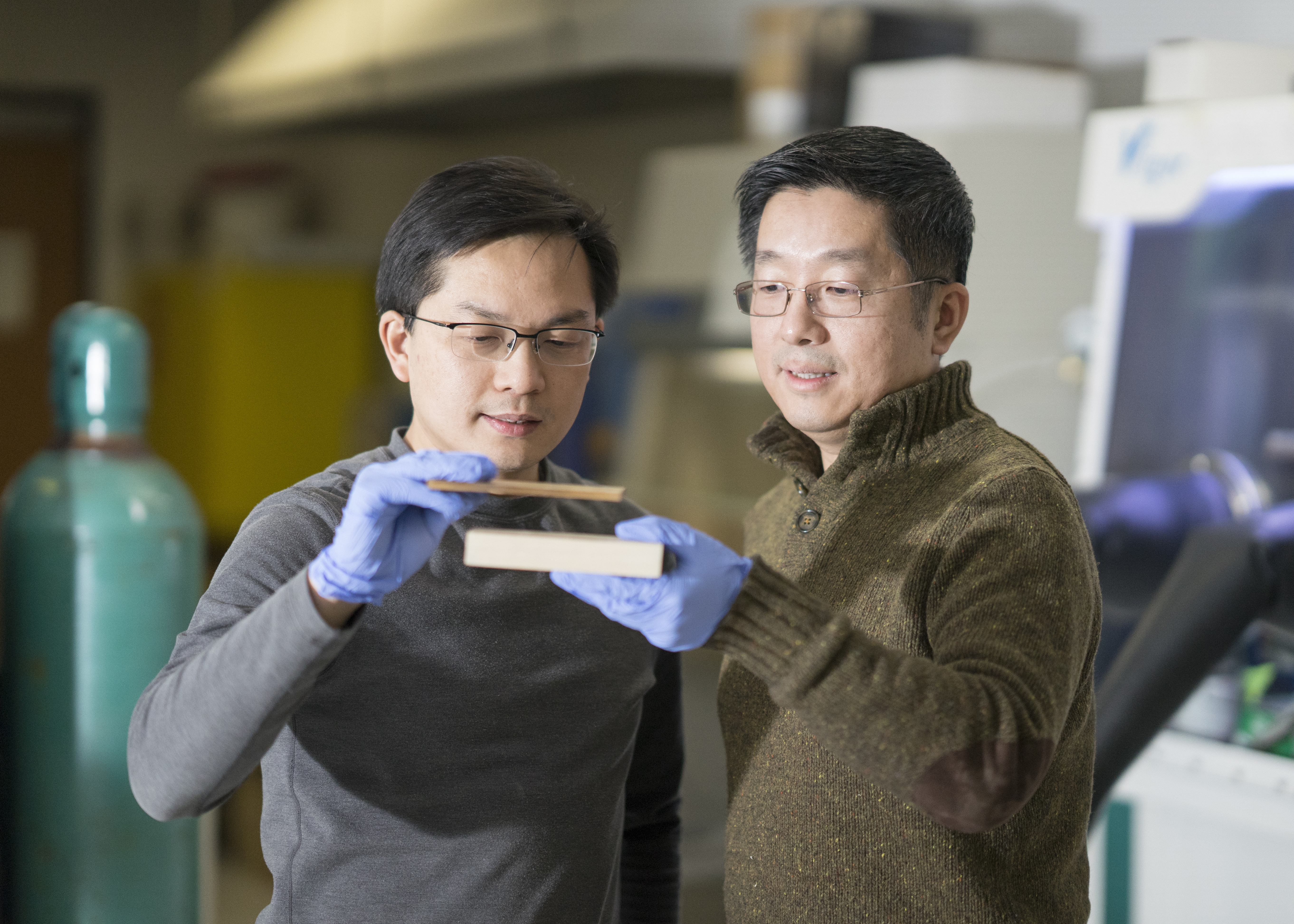 Photo of researchers examining wood pieces