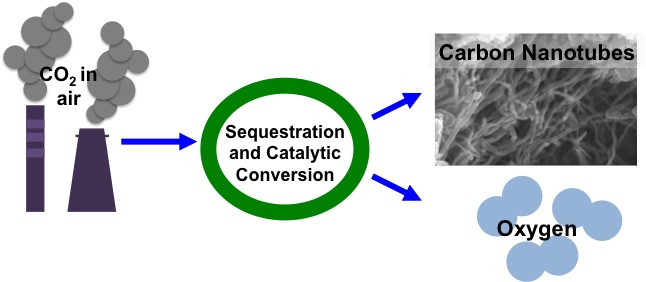 Diagram of sequestration and catalytic conversion process