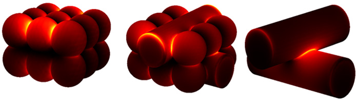 Diagram of red-colored nanospheres and nanowires