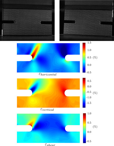 Image of deformed item and heat maps of strain