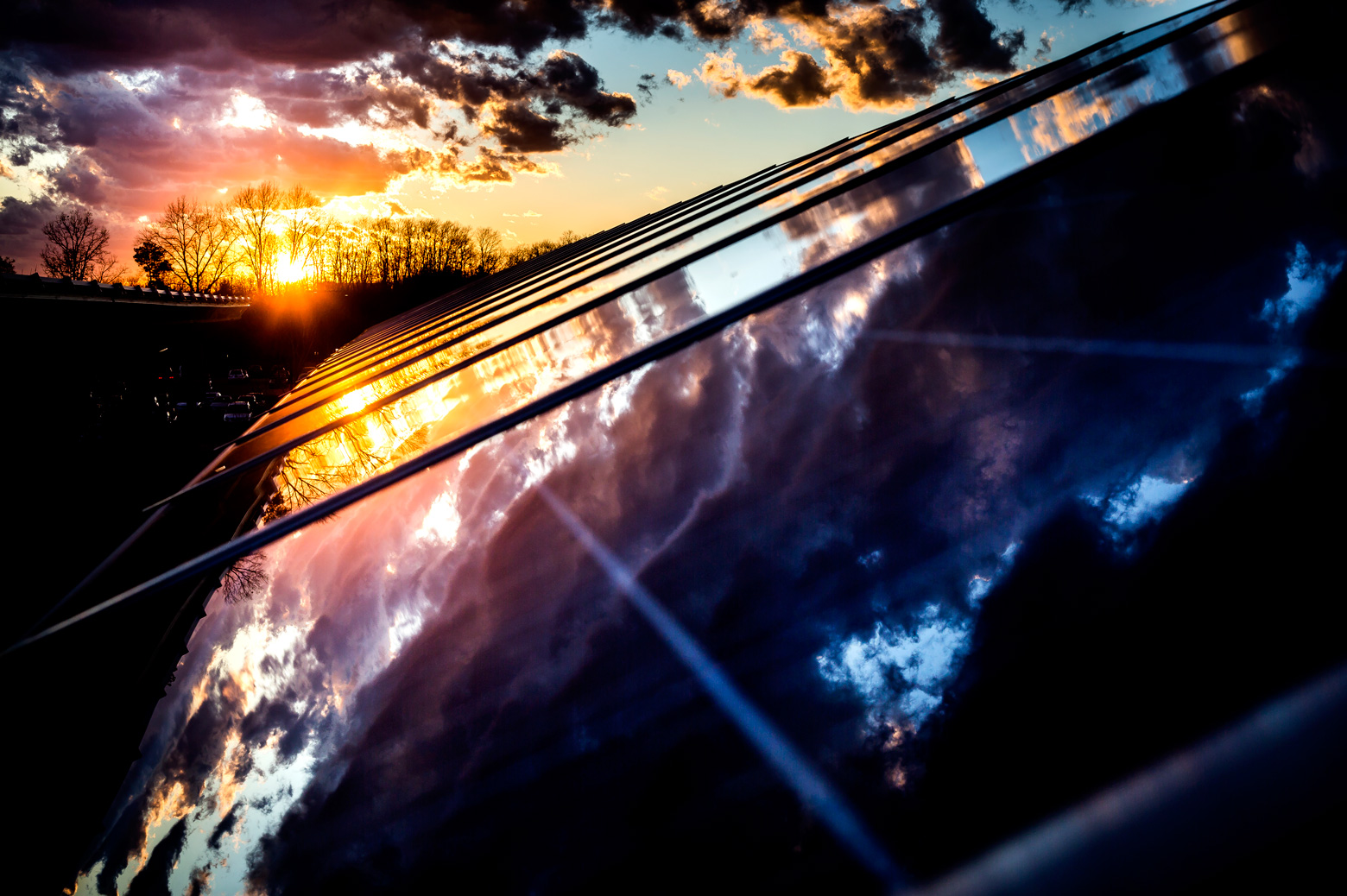 Photo of solar cells at sunset
